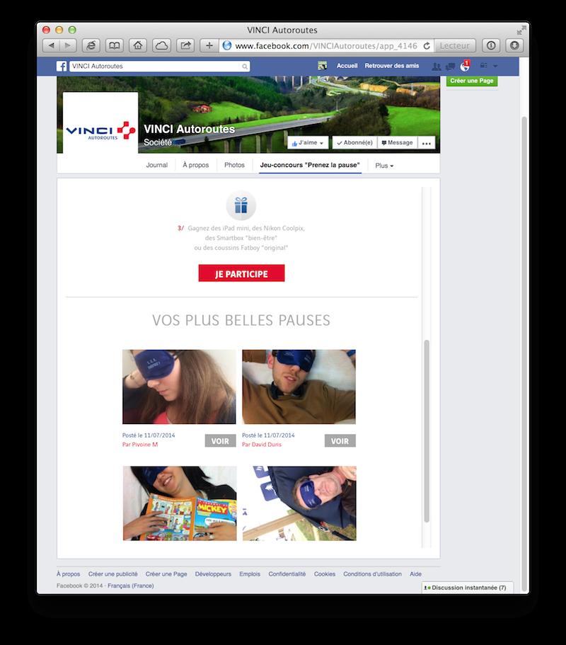 Prenez la pause Jeu-concours Facebook Vinci Autoroutes Vertuoz