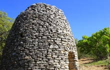 borie house in dried stone garrigue lavender provence