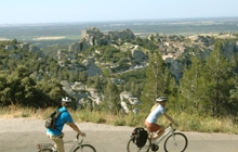 cycling in Van gogh landscape to st remy and les baux perched medieval village in the olives groves