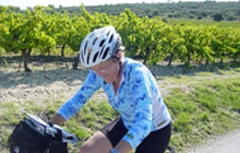 cycling in the vinyards gigondas vines vacqueyras cote du rhone great ambiance great wine