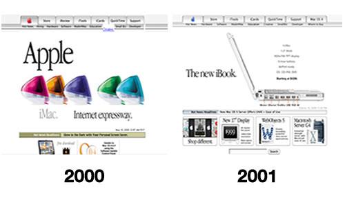 Le site internet d'Apple, au début du siècle