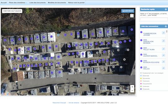 gestion cimetieres concessions cartographie drone